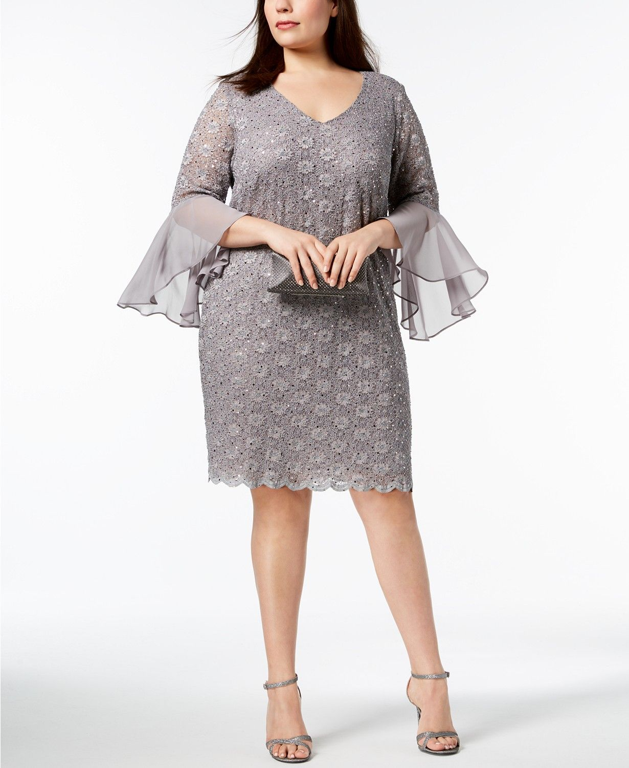 66b3280e28 Wedding Without Suit Jacket. Connected Plus Size Sequined Lace Bell-Sleeve  Dress - Dresses - Women - Macy s