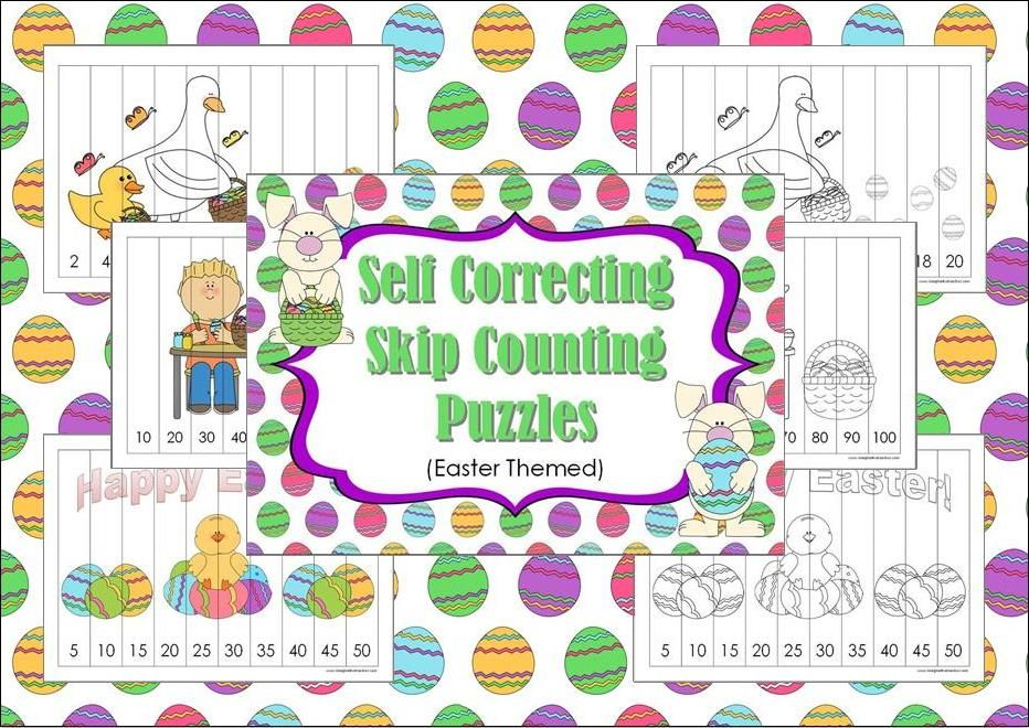 free self correcting skip counting puzzles easter theme simply print off the puzzle then cut. Black Bedroom Furniture Sets. Home Design Ideas