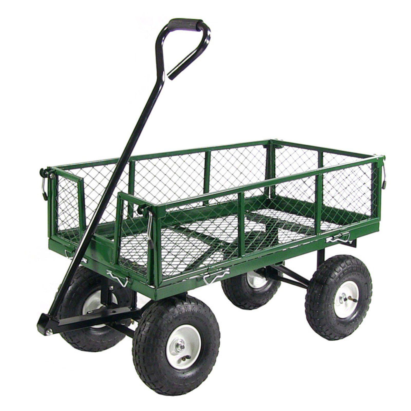 Sunnydaze Decor Steel Utility Cart with Removable Folding Sides