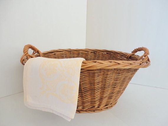 Vintage Woven Laundry Basket With Handles 1960s Small Wicker