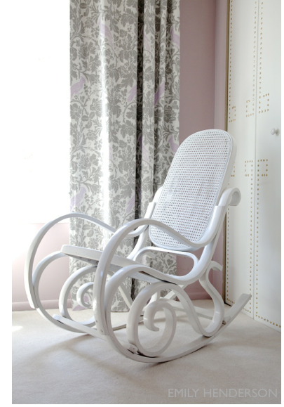 Vintage Caned Rocker All Painted White Emily Henderson Stylist Blog Bentwood Rocker Cane Rocking Chair Rocking Chair
