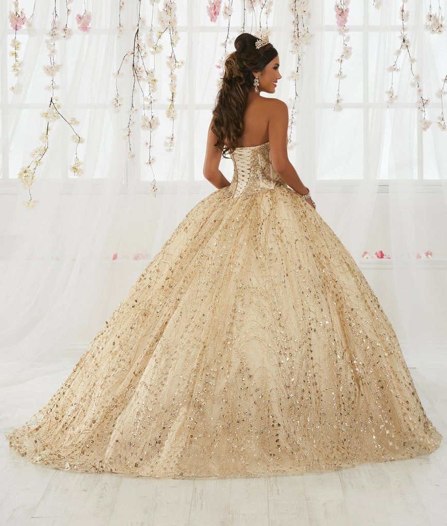 67b74257100 Gold Applique Strapless Quinceanera Dress by House of Wu 26913-House of Wu-ABC  Fashion