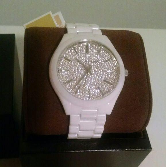 36c039fe0 Michael Kors Runway Watch 3448 Michael Kors Slim Runway crystal pave dial  ceramic bracelet watch,