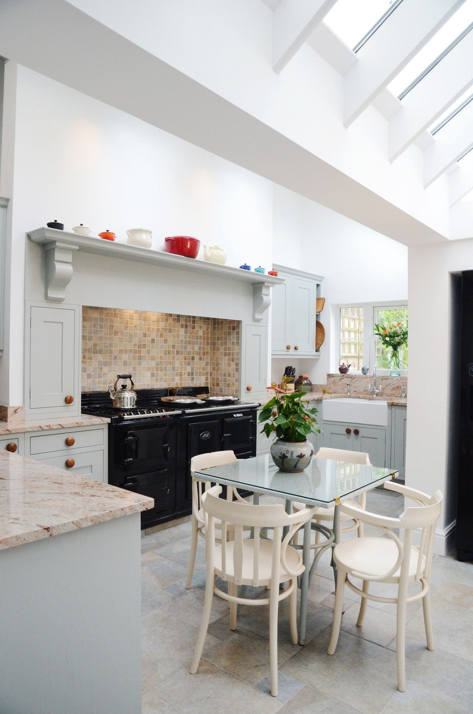In this lovely light blue in frame kitchen we constructed a fake ...