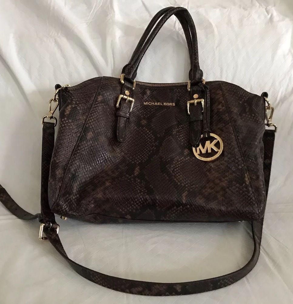 030d2062b99bbd Michael Kors Brown Faux Snakeskin Leather Top Handle & Shoulder Strap Purse  Bag | eBay