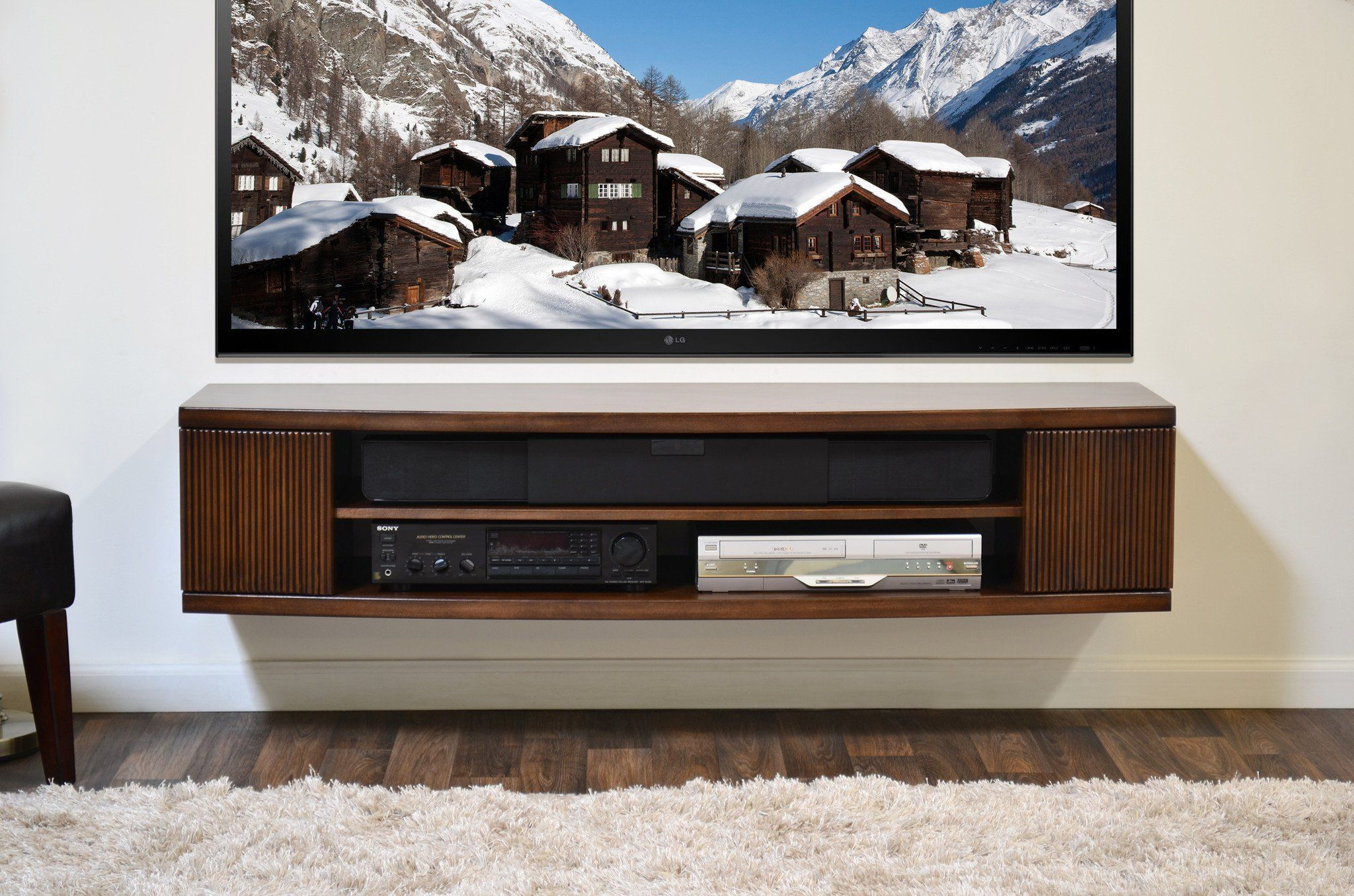 Curved Round Floating Tv Console The Curve Mocha Woodwaves