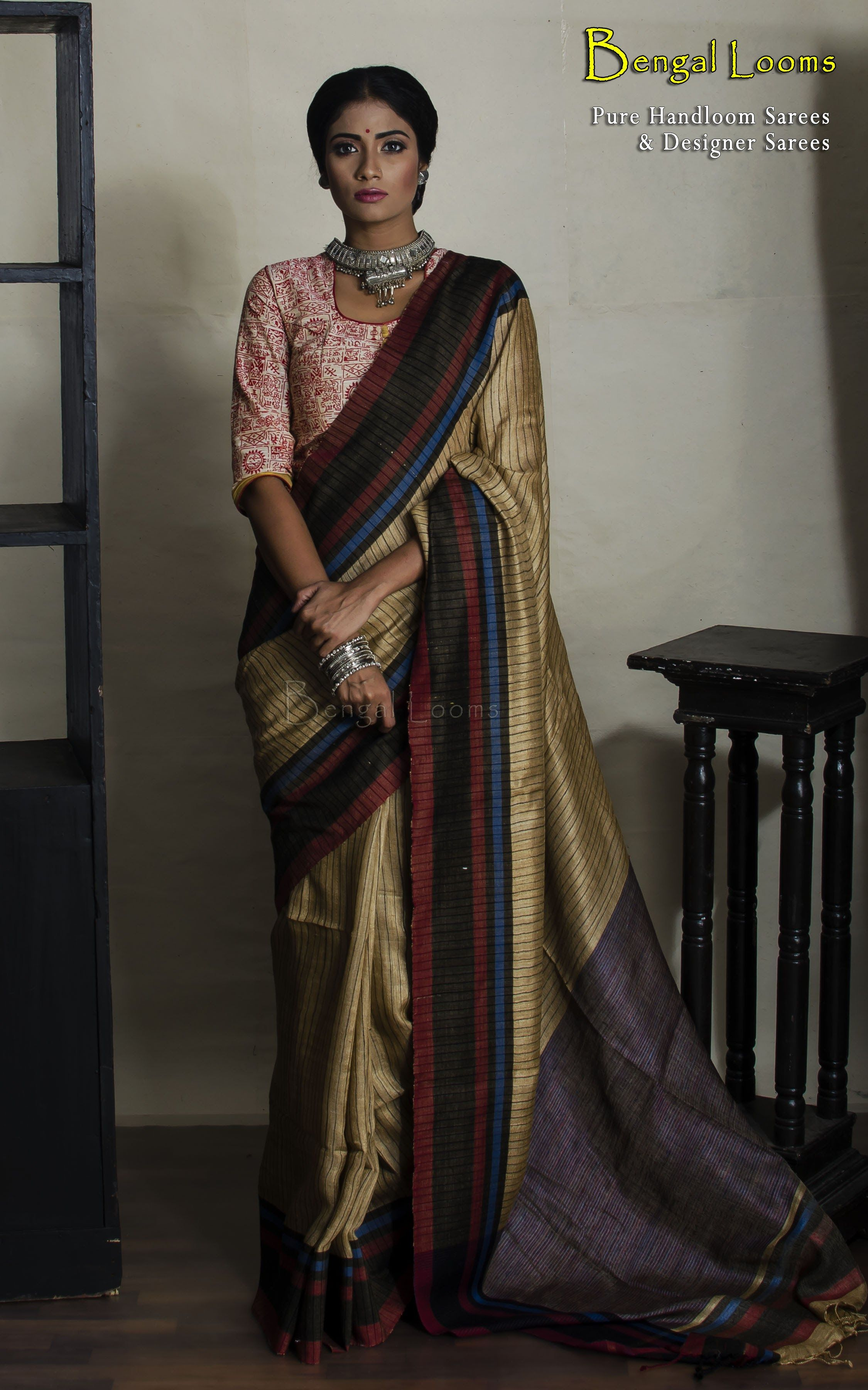 d74f1262fa Beautiful Pure Handloom Khadi Silk Saree in beige, black and maroon color  combination.