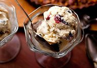Rum cranberry ice cream with walnuts and chocolate chunks