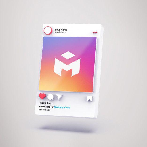 3d Interface Social Media Instagram Mockup Instagram Mockup Social Media Instagram Social Media Infographic