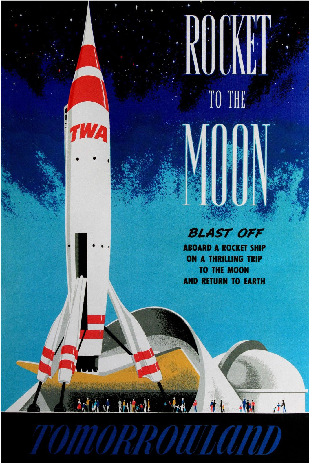 Http I Ebayimg Com T Vintage Disneyland Tomorrowland Rock To The Moon 1955 Poster 00 S Mtywmfgxmdy3 Z T Iaaox Retro Disney Vintage Disneyland Disney Posters