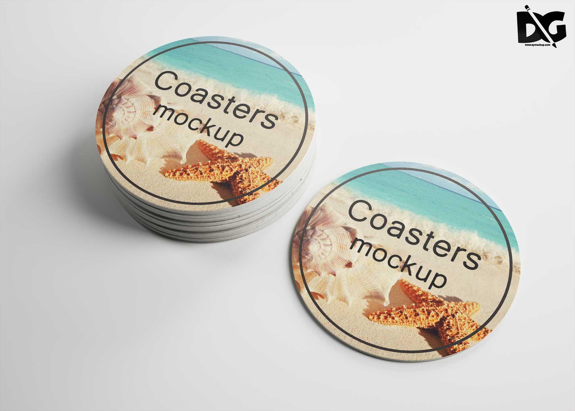 Free Round Coaster Mockup Psd Mockup Psd Free Logo Mockup Logo Design Mockup