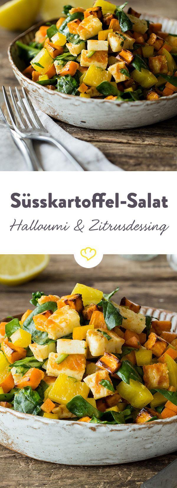 Satt soll es machen, aber nicht schwer im Magen liegen. Der lauwarme Salat mit Süßkartoffeln aus dem Ofen und Halloumi ist das perfekte Sommergericht.