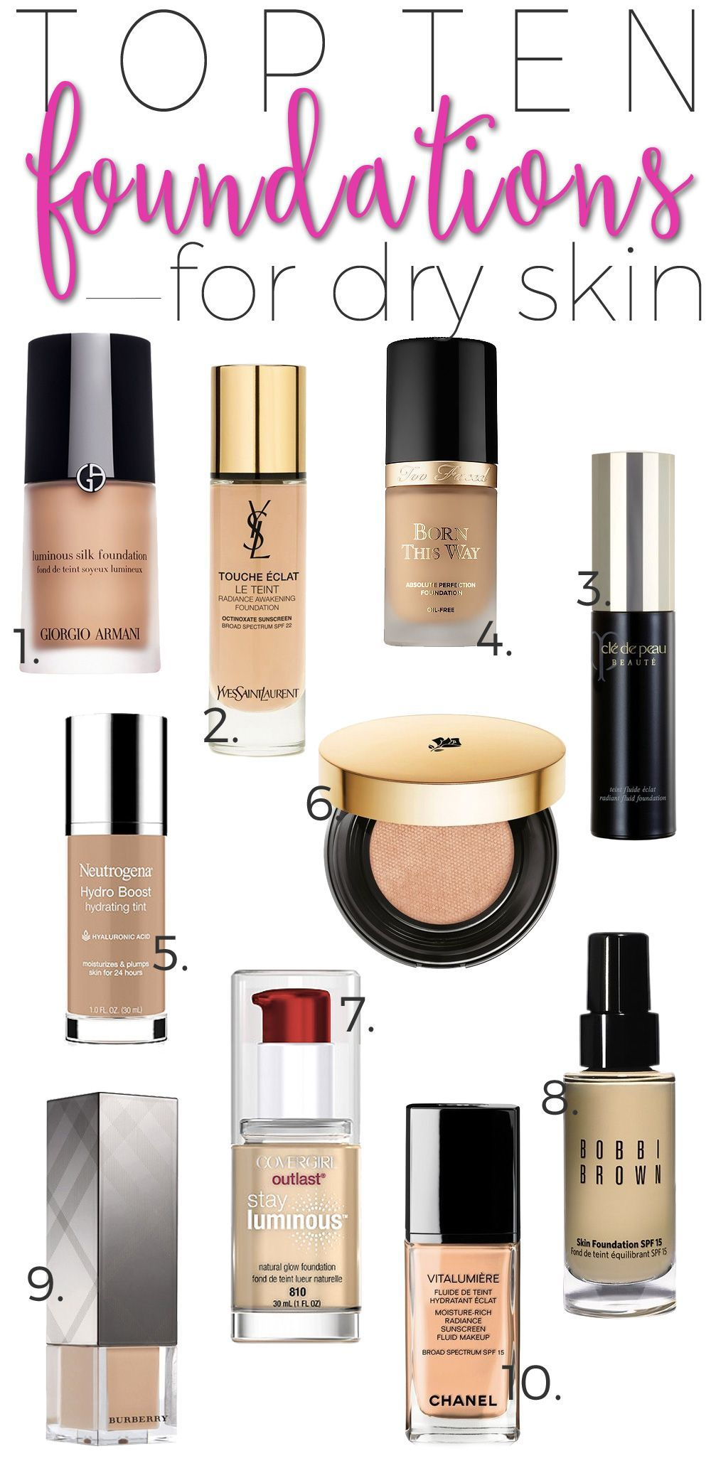 Top 10 Foundations for Dry Skin. Best makeup products