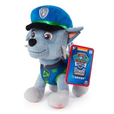 PAW Patrol Ultimate Rescue Rocky Plush - Paw patrol, Paw, Plush, Baby toys, Little babies, Rocky - The PAW Patrol is on a roll with all new Ultimate Police Rescue Plush! Cuddlier than ever before, Ultimate Police Rescue Rocky Plush stands on all fours, measuring 8 tall  This pup's soft fur is perfect for snuggling  and now, even his police cap is made of plush material! Wearing his Ultimate Police Rescue uniform, Rocky is dressed for cuddles and adventure! Even Rocky's paws feature real paw print detailing! Ready for anything, Police Rescue Rocky makes playtime fun and naptime cozy! Bring home all the adventure of the hit TV show with plush Police Rescue Rocky!  Includes 8  Ultimate Police Rescue Rocky Plush Gender unisex