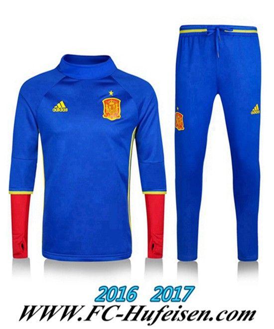 Billige Neue Fussball Trainingsanzug Herren Kits Spanien Blau 2016 2017 Thailand