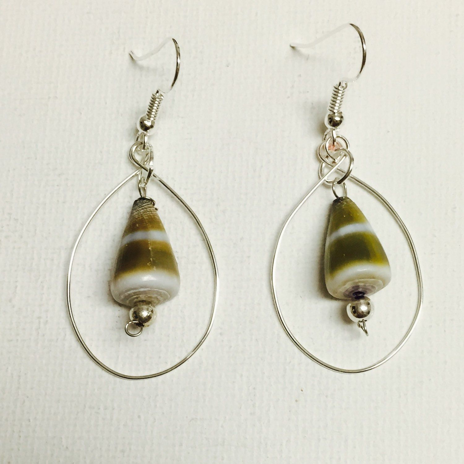 Hawaii Cone Shells Silver Wire Hoop Earrings With Silver Filled ...
