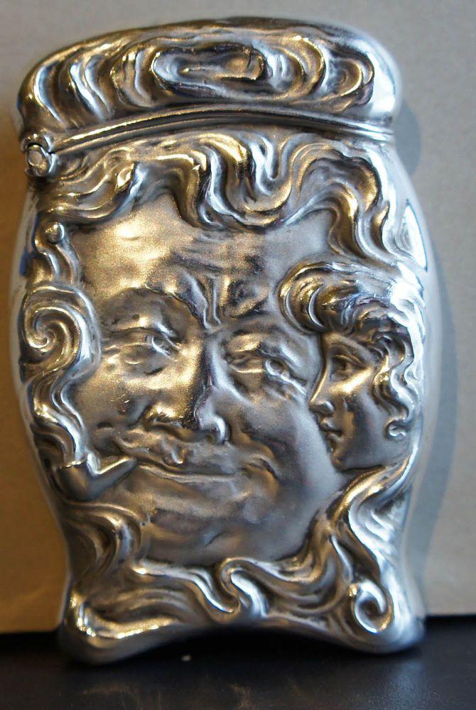Unger Bros Sterling Silver Match Safe circa 1900 pipe smoking man Art Nouveau