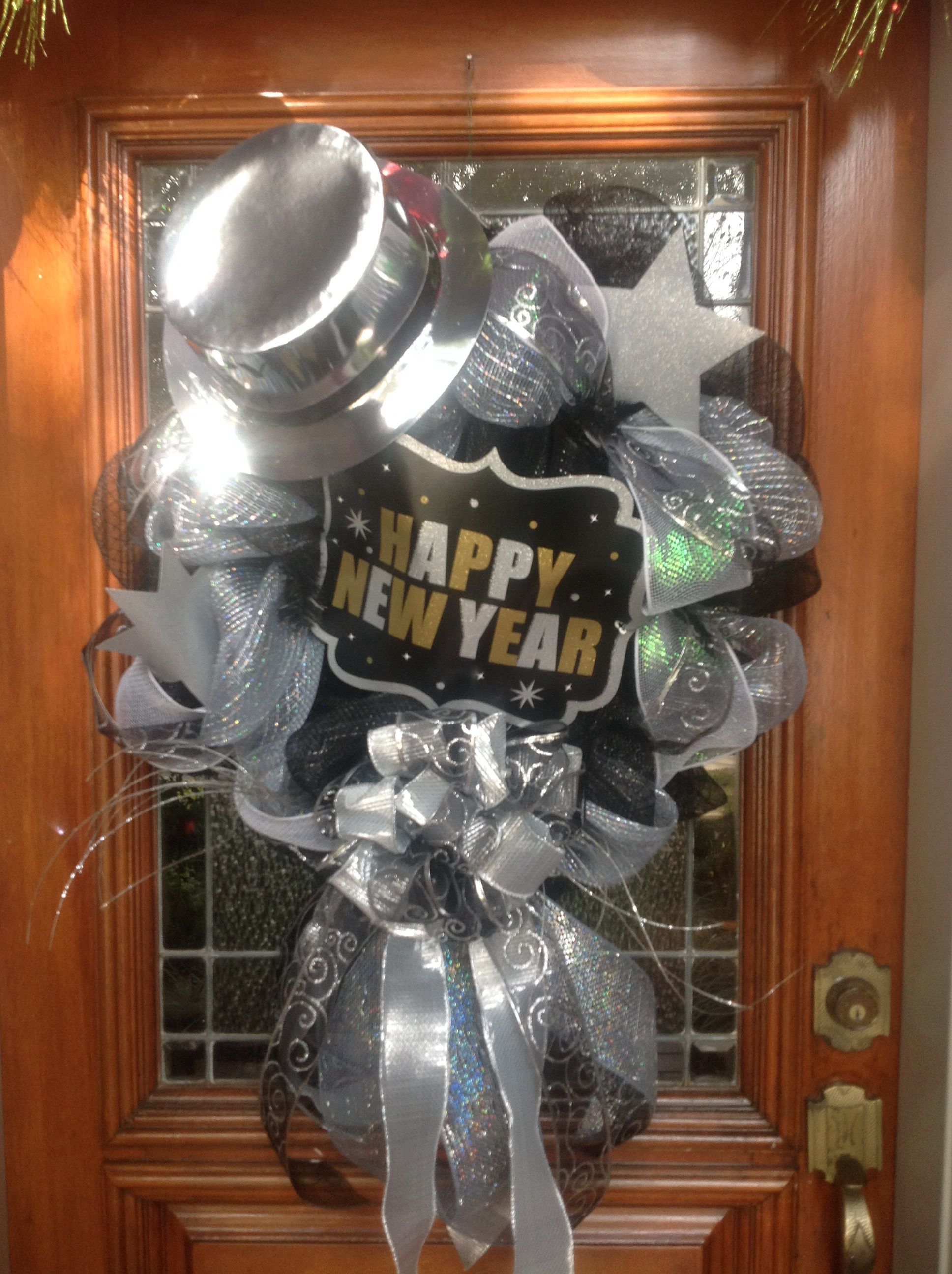 Deco mesh New year's Wreath Christmas mesh wreaths