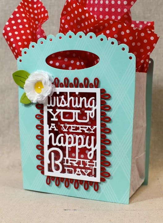 PTI Text Block Birthday die: Lizzie used it here on a gift bag, using clear cardstock for the window. (Lizzie Jones)