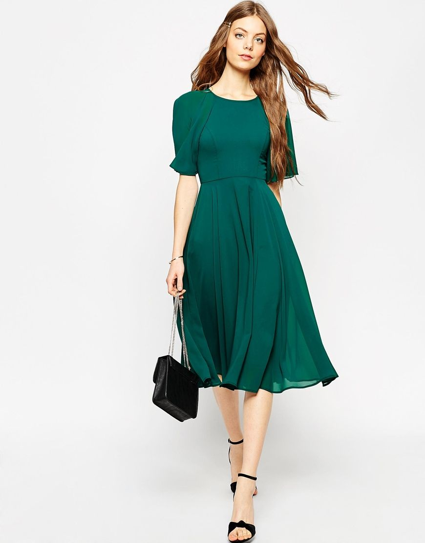 emerald green wedding guest midi dress