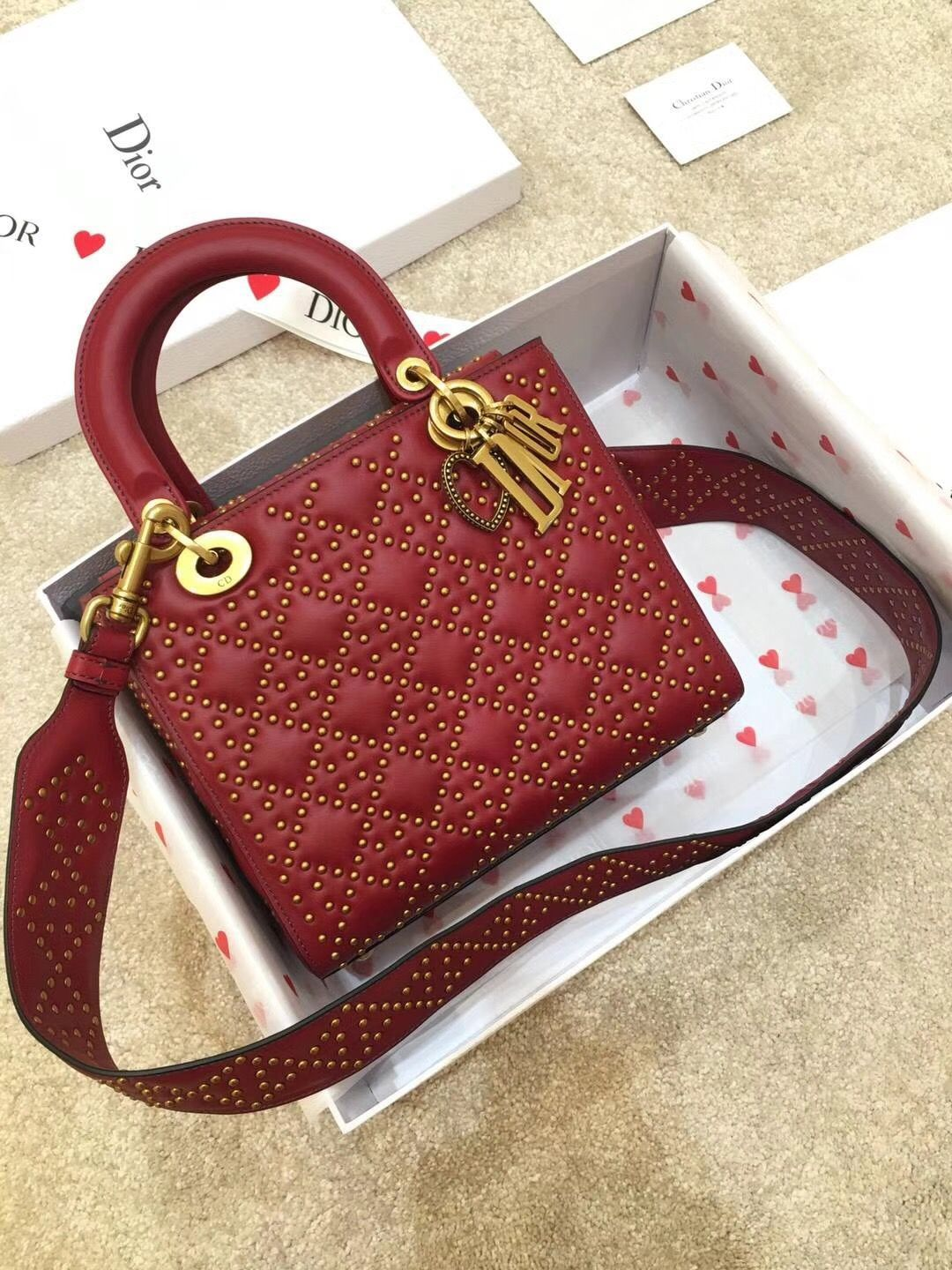 84f374e08d Christian Dior CD woman bag original leather version lady Dior with studs