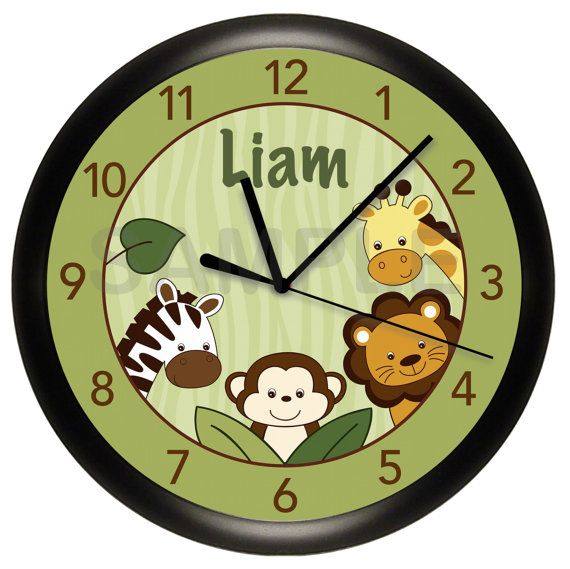 Safari Jungle Animal Personalized Nursery Wall By Cabgodfrey2 Relojes De Pared Paredes Creativas Paredes Rusticas