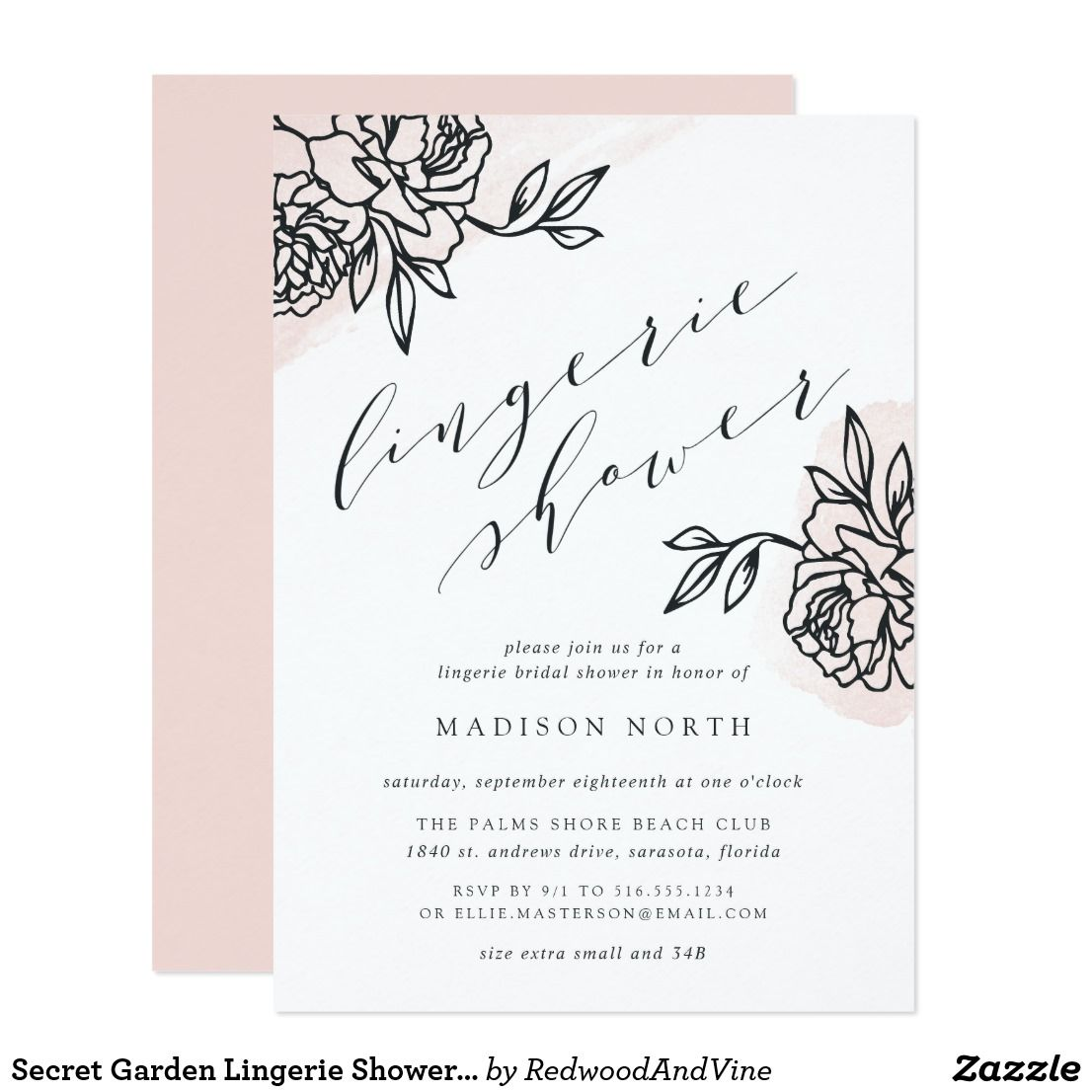 Secret Garden Lingerie Shower Invitation is part of Secret garden Invitations - Simple and elegant lingerie shower invitation chic offblack modern calligraphy lettering, flanked by vintage style floral outline illustrations on a sheer wash of blush pink watercolor  Personalize with your lingerie bridal shower details beneath  Invitations reverse to solid blush pink  Customize the paper type or shape to make this elegant design your own