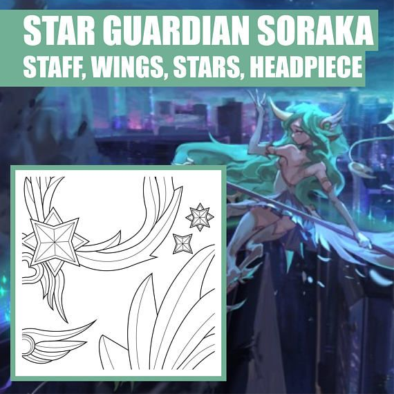 Star guardian soraka staff wings stars headpiece weapon star guardian soraka staff wings stars headpiece weapon blueprint pattern vector pdf file league of legends cosplay malvernweather Image collections