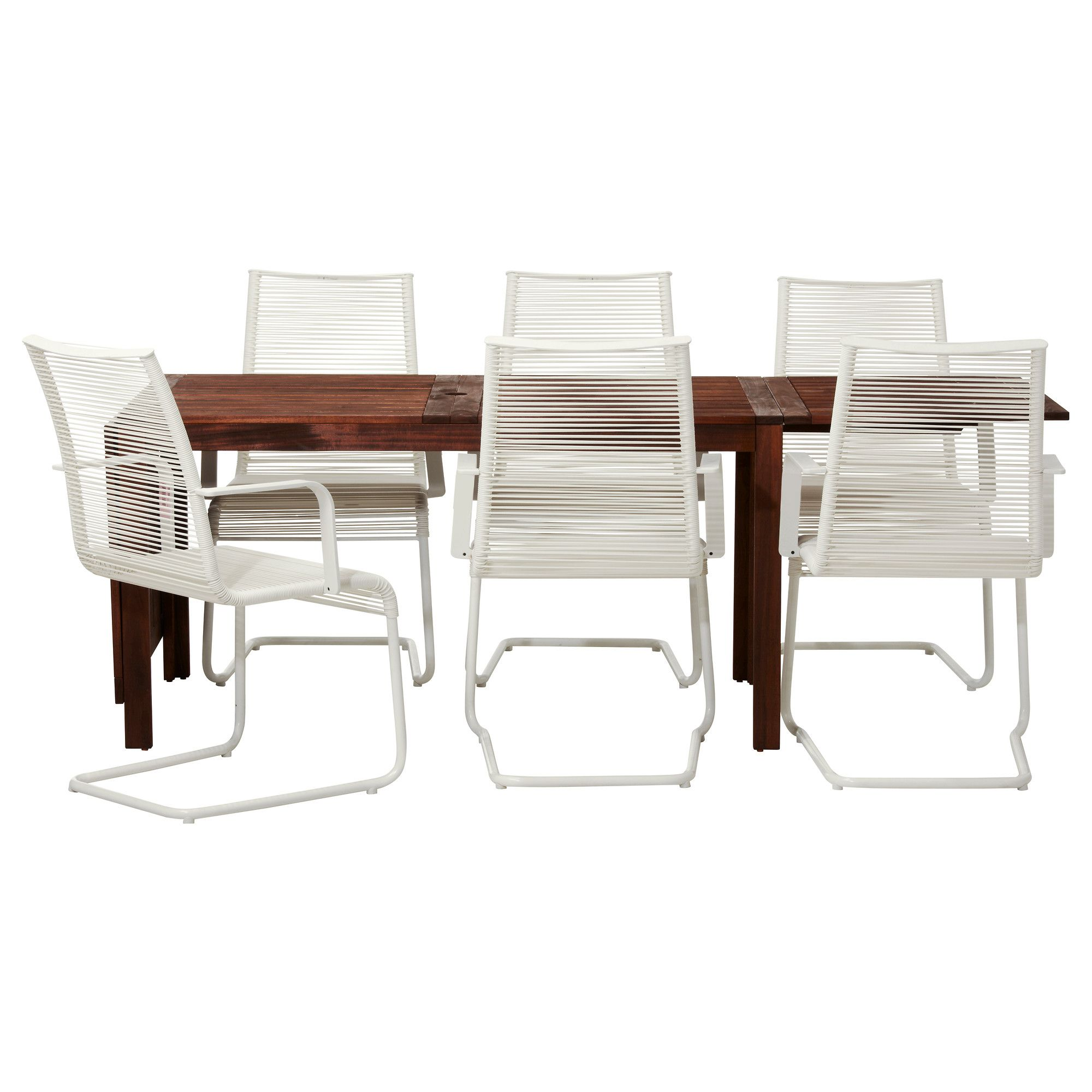"""PPLAR– V""SMAN Table and 6 armchairs brown white"