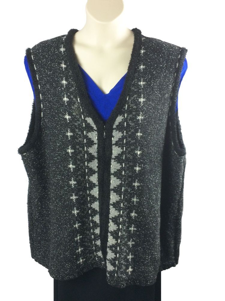 Womens North Crest Sweater Vest Plus Size 3X Black Gray White Zip ...