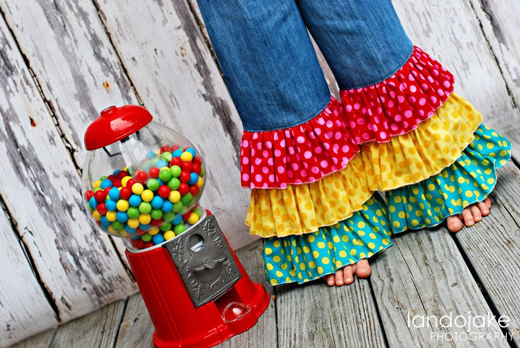 Applique Gumball Machine Tee with Triple Ruffle Hippie Pants ...