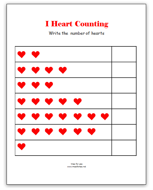 Valentines Math Kindergarten Worksheets Kindergarten