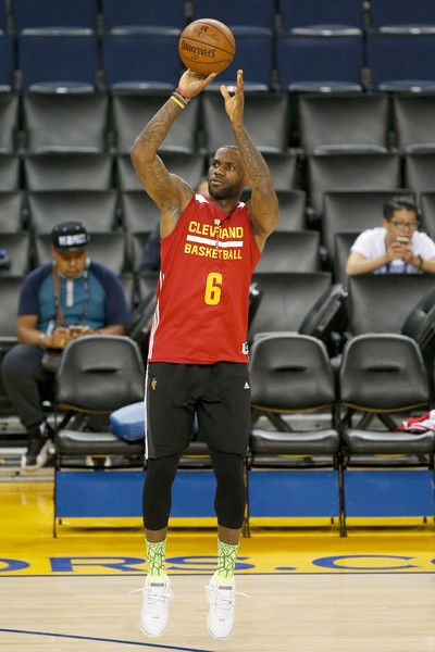 9f7bf4252fd LeBron James Photos - LeBron James  23 of the Cleveland Cavaliers shoots at  practice for the 2016 NBA Finals at ORACLE Arena on June 1