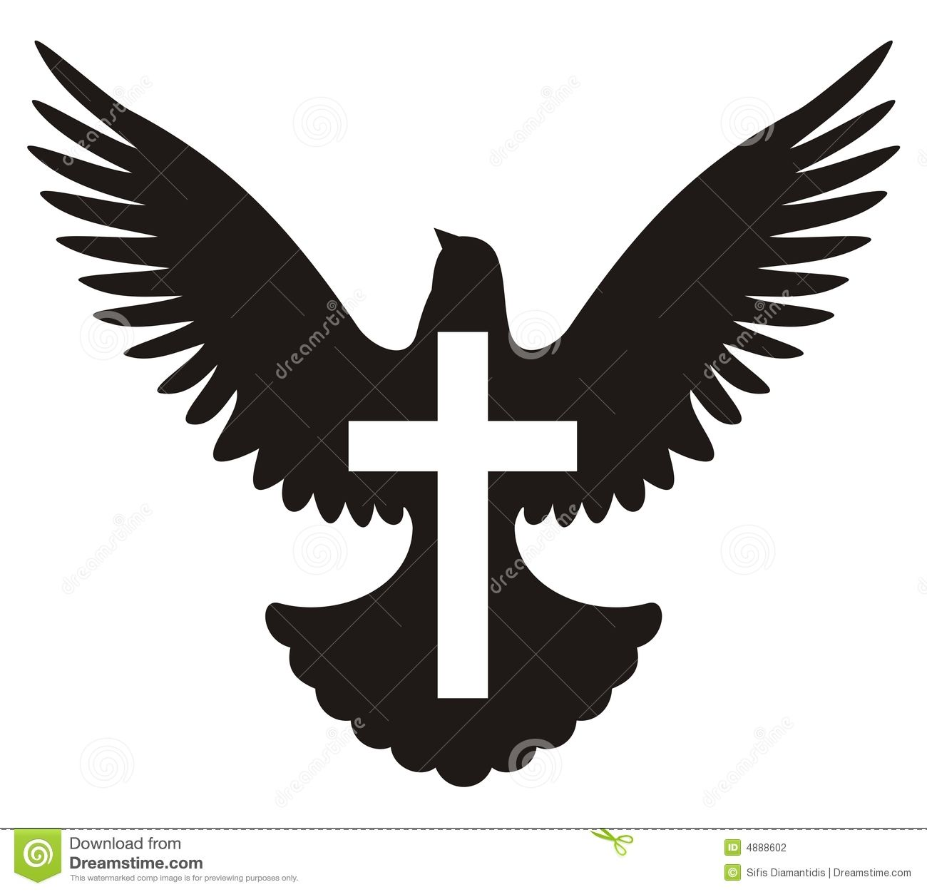 Simple Illustration Of A Dove And A Christian Cross Symbol