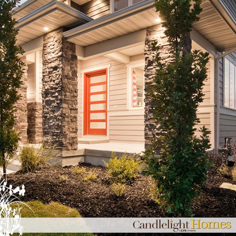 Red Front Door As Surprising Door Design For Modern Home: Www.CandlelightHomes.com, Utah, Homebuilder, Red Front