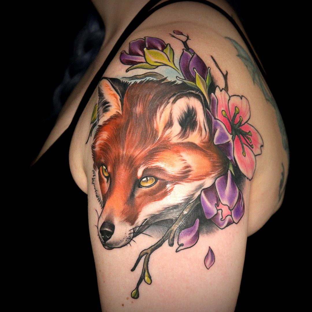 Flowery Fox Tattoo By Jake Ross Ink Master Tattoos Ink Master Fox Tattoo