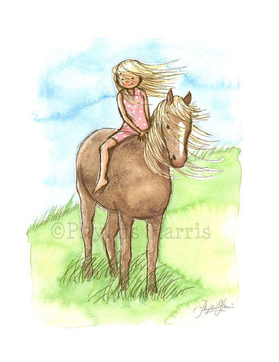 Children's Wall Art Print, Girl's room art - Horse Girl - Girl's room decor- customizable hair color and dress color on little girl #girlrooms