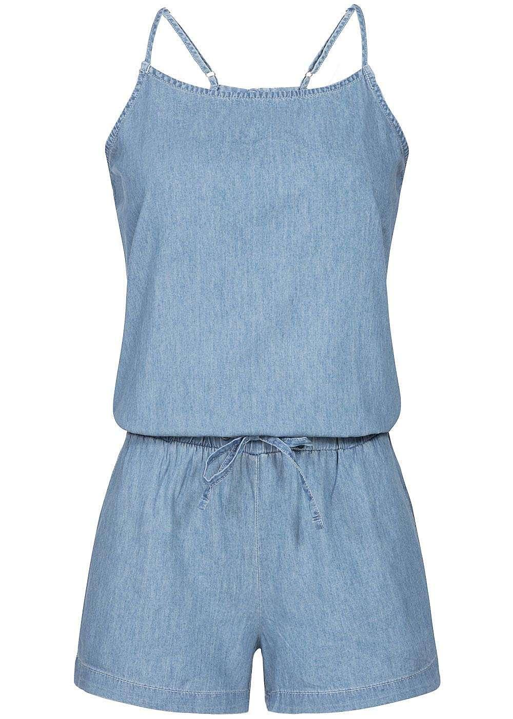 51b9caa8ddc41 Vero Moda Damen Jumpsuit ärmellos Kordelzug 2 Taschen light blue denim -  77onlineshop