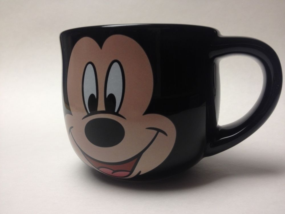 Disney Mickey Mouse Face Large Cappuccino Coffee Mug Cup Soup Bowl EUC Black