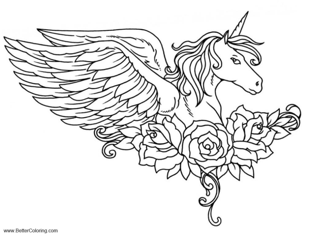 Free Alicorn Coloring Pages Pegasus With Flower Printable For Kids And Adults In 2020 Unicorn Coloring Pages Unicorn Images Coloring Pages