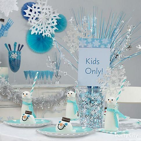DIY a Kids Only table centerpiece full of winter magic! To make this centerpiece, place a Snowflake Spray centerpiece in a Clear Plastic Container filled with Snowflake Confetti.