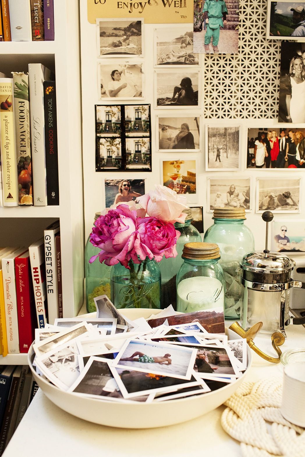 Bowl of polaroids...love this idea for a coffee table!