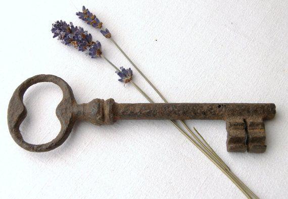Antique French Rusty Large Key Lock Skeleton Ch\u00e2teaux Castle Estate circa 1900-20/'s  English Shop