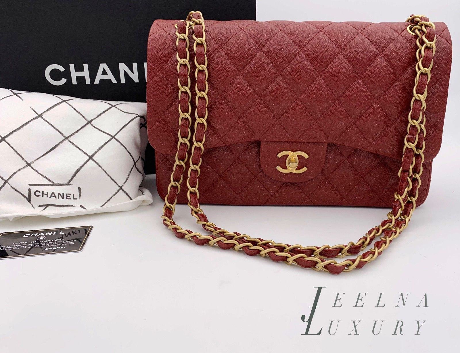 7bd463408d4 Auth Chanel 2018 Caviar Pearly Iridescent Red Burgundy Double Flap Jumbo  Bag GHW