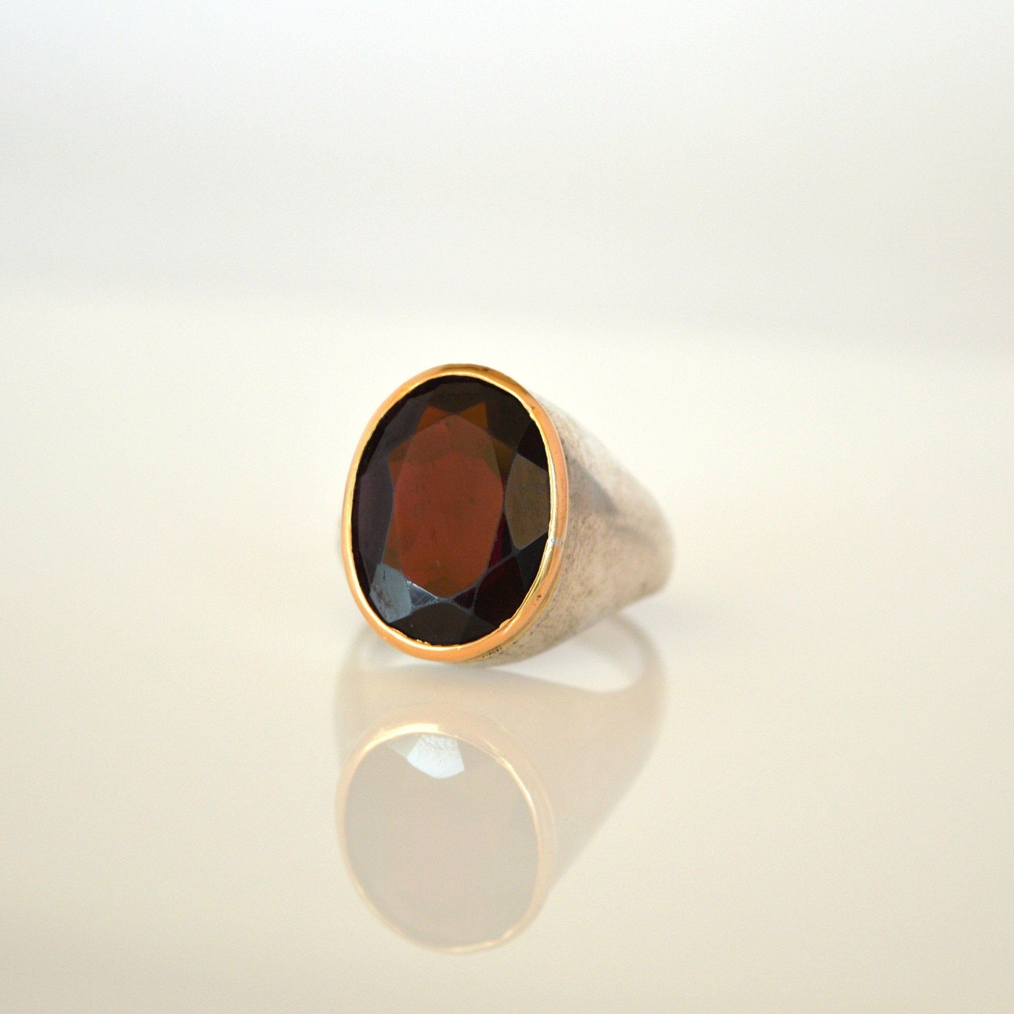 Gifts For Her Large Semi-Precious Gemstone Gold Rings Triple Gemstone Gold Large Statement Rings Gemstone Statement Rings