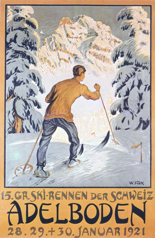 1921 Grosses Ski Rennen Der Schweiz Adelboden Vintage Ski Posters Ski Posters Vintage Ski