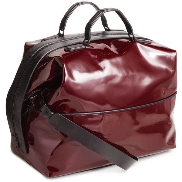 H&M Patent weekend bag (3.480 ARS) ❤ liked on Polyvore featuring bags, handbags, burgundy, red studded purse, burgundy patent leather purse, burgundy patent leather handbag, burgundy purse and studded handbags