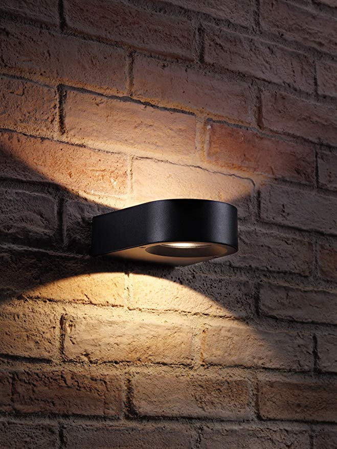 Auraglow Black Integrated Led Contemporary Ring Design Outdoor Up And Down Wall Light Ip54 Warm White Outdoor Sconces Wall Lights Contemporary Rings Design