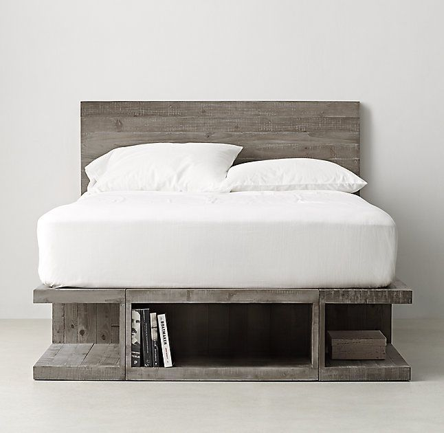 rh teenu0027s emmett storage platform bedcrafted of rustic kilndried pine our lowslung platform bed sits atop large open cubbies that provide generous