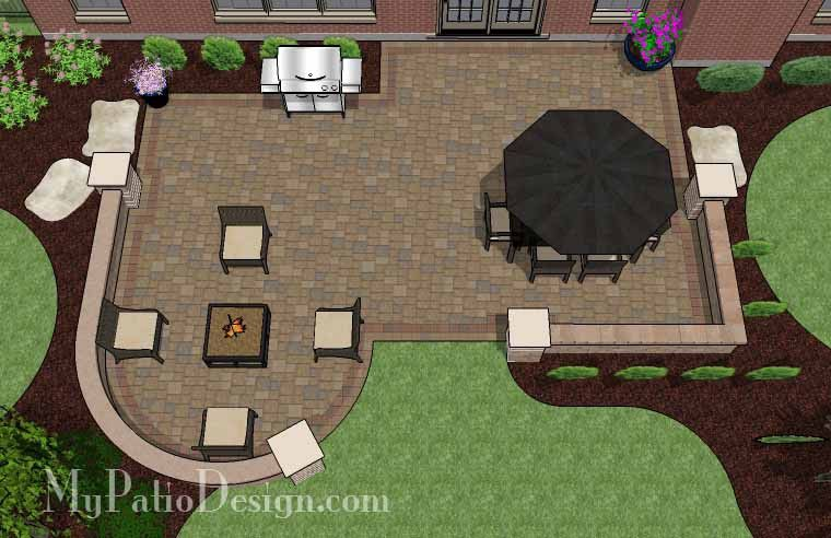 With 670 sq. ft., the Traditional Patio Design with Seating Wall has plenty of space for a large patio table and a portable fire pit with 4 oversized chairs. #patiodesign